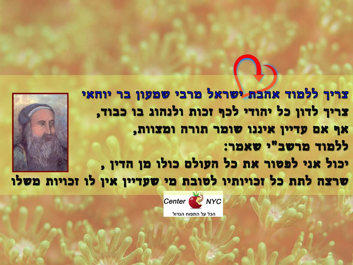 אהבת ישראל מרבי שמעון בר יוחאי