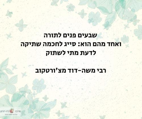 רבי משה-דוד מצ'ורטקוב: לדעת מתי לשתוק