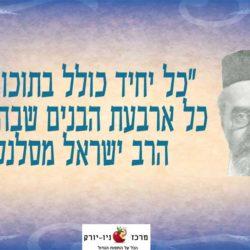 כל אחד כולל בתוכו את 4 הבנים – הרב ישראל מסלנט
