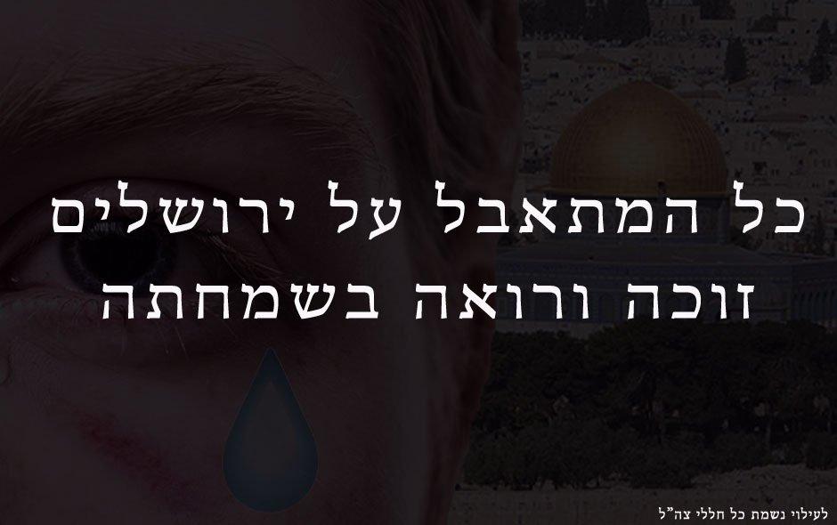 כל המתאבל על ירושלים זוכה ורואה בשמחתה.